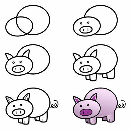 How To Draw A Pig In 2019 Diy Drawings Drawing For Kids Easy