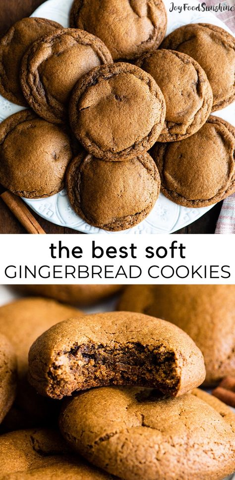Soft Gingerbread Cookies are the BEST gingerbread cookies! They're easy to make & have crispy edges with soft & chewy centers & they're perfectly spiced! Ginger Bread Cookies Recipe, Yummy Cookies, Holiday Baking, Christmas Baking, Christmas Cookies, Italian Christmas, Christmas Desserts, Soft Gingerbread Cookie Recipe, Easy Gingerbread Cookie Recipe