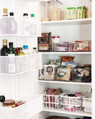 Here Is The Perfect Pantry Organization Use Bins And Containers To Organize Snacks On Shelves Perfect Pantry Pantry Organization Kitchen Organization Pantry