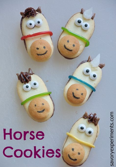 No Bake Horse Cookies Recipe is a simple way to be festive during the Triple Crown Races or a horse themed party.   www.savoryexperiments.com