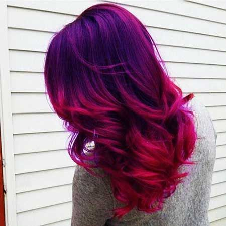Purple Pink Ombre Hair In 2020 Magenta Hair Hair Styles Purple Ombre Hair