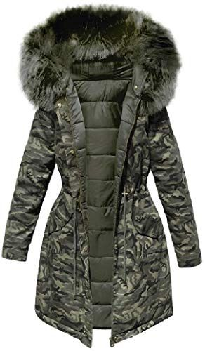 Winter Women/'s Long Down Jacket Hooded Coat Quilted Padded Puffer Fur Collar New