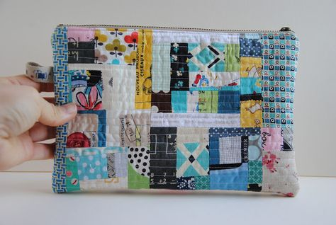 """1/4"""" mark: Scrappy Patchwork Zippered Pouch inspiration"""