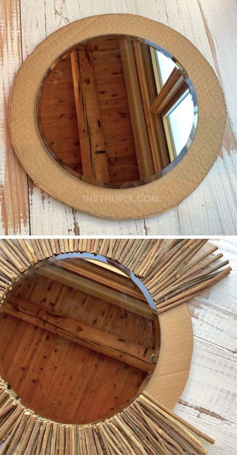 Simple Rustic DIY Home Decor Idea: Stick Framed Round Mirror Tutorial Cheap Diy Home Decor, Diy Home Crafts, Holiday Crafts, Diy Wand, Mur Diy, Diy Simple, Dollar Store Hacks, Dollar Stores, Décor Boho