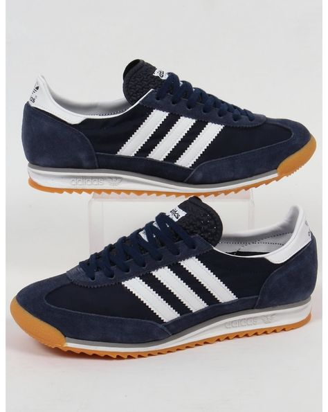 Adidas SL 72 Trainers - Tags: sneakers, low-tops, navy blue, suede, gum sole