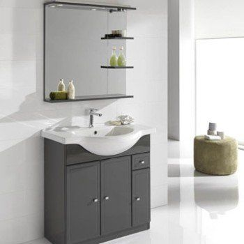 Meuble Vasque L 80 X H 80 X P 35 Cm Gris Galice Leroy Merlin
