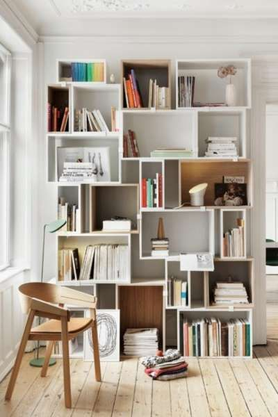 20 Scandinavian Bookshelves Ideas For Your Cozy Living Room Interior House Interior Unique Shelves