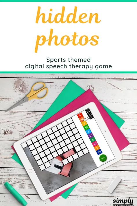 Sports Photos 100 Trials No Print Hidden Images Game for Speech and Articulation