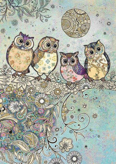 bug art Four Owls greeting card