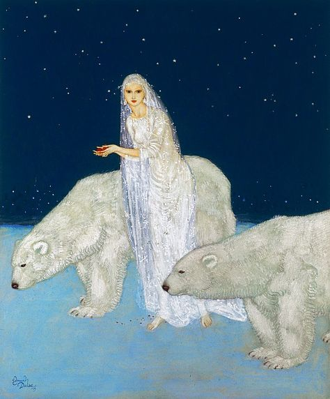 Shop Snow Maiden and Polar Bears by Edmund Dulac Poster created by vintage_illustration. Art And Illustration, Illustrations, Botanical Illustration, Poster Art, Kunst Poster, Poster Prints, Edmund Dulac, The Dreamers, Art D'ours