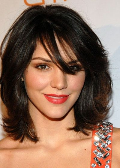 Celebrity Latest Medium Hairstyles Katherine McPhee Black Bang Wavy Hair