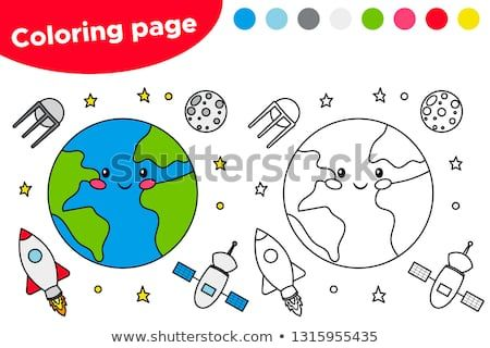 Printable Coloring Page With The Earth Satellite Moon And Rocket