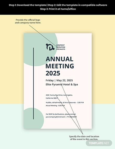 Annual General Meeting Invitation Template Free Pdf Word Psd Indesign Apple Pages Google Docs Illustrator Templates Word Doc Document Templates