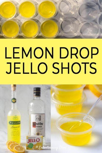 Lemon Drop Jello Shots Recipe - Entertaining Diva Recipes @ From House To Home This lemon drop jello shots recipe made with vodka and Limoncello tastes like a lemon drop martini--a tasty boozy treat for any adult party Lemon Drop Jello Shots Recipe, Best Jello Shots, Jello Shot Recipes, Alcohol Drink Recipes, Alcohol Jello Shots, Lemon Drop Shots, Jello Shots With Vodka, Shot Ideas Alcohol, Drink Recipes