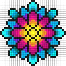 Fleur Multicolore Dessin Pixel Dessin Petit Carreau Et