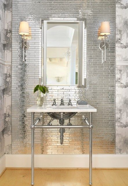 Check Out These That Feature Paint Tile And Wallpaper In Shades Of Shiny Silver And Tell Us Whi