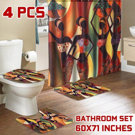 4PCS Exotic African Girl Bathroom Shower Curtain Toilet Non-Slip Cover Mat Set