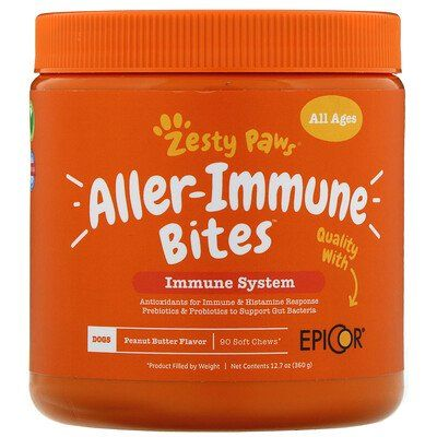 Zesty Paws Aller Immune Bites For Dogs All Ages In 2020 Pet Vitamins Flavored Bacon Prebiotics And Probiotics