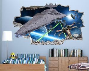 Star Wars Space Battle Boys Bedroom Decal Vinyl Wall Sticker H144 Star Wars Boys Bedroom Bedroom Decals Star Wars Bedroom