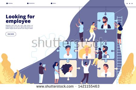 Stock Vector Recruiting Landing Online Recruitment And Job Search Human Resource Vacancy Advertising Employment Agency Business Vector W Looking For Employees