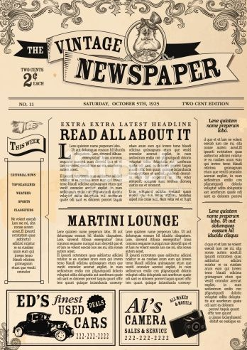 Vector Illustration Of A Front Page Of An Old Newspaper Use This Newspaper Layout Vintage Newspaper Newspaper Design Layout