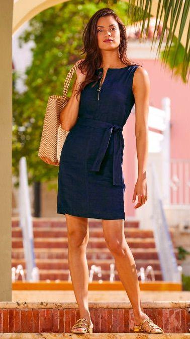 Zip Up Linen Dress In 2020 Fashion Beachwear Fashion Cruise Dress
