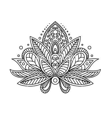 Persian or turkish paisley flower henna lotus vector by Seamartini on VectorStock®: