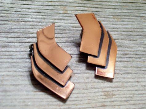 Renoir AZTEC Earrings Vintage RENOIR Copper by TheCopperCat