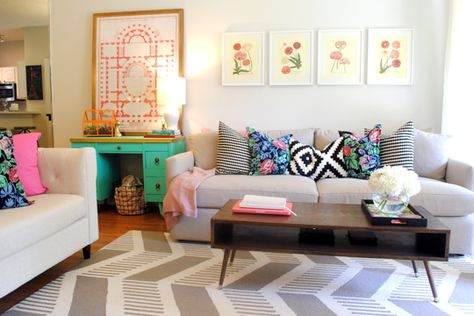 florals mixed with graphic patterns mid century modern coffee table, botanical print. This is gorgeous!!!!!