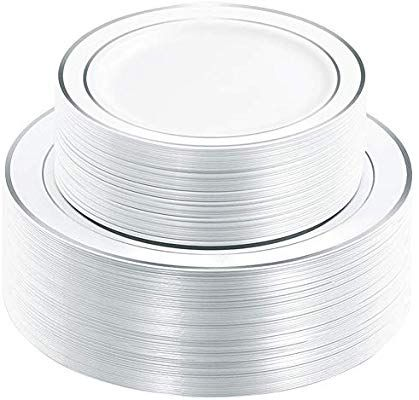 Wdf 120pcs Silver Plastic Plates Disposable Plastic Plates With Silver Rim Plastic Wedding Party Plates In Plastic Wedding Wedding Plates