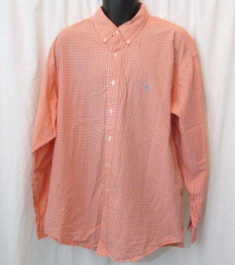 Ralph Lauren Men/'s BIG /& TALL Button Down Orange  /&  White Checkered Shirt