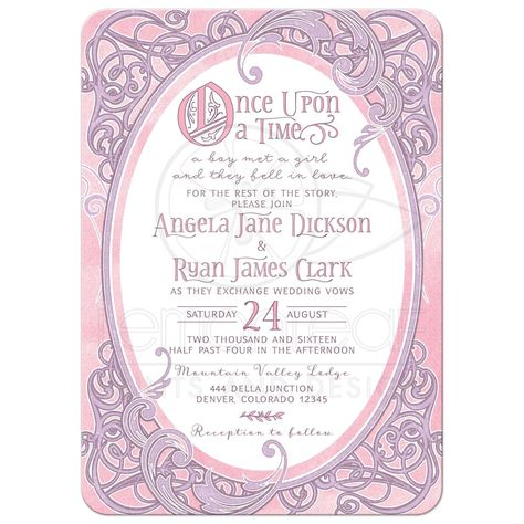 Pink and purple fairy tale once upon a time ornate vintage frame wedding invitation front