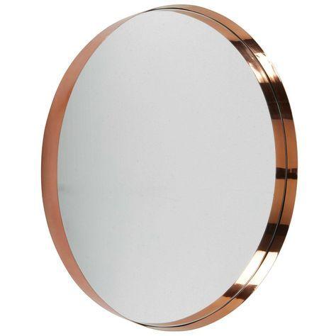 Runder Spiegel Aus Verkupfertem Metall D90 Spiegel