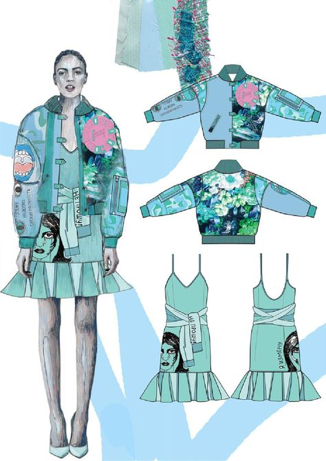 Fashion portfolio with illustration, fabric swatches and specs by Roberta Einer