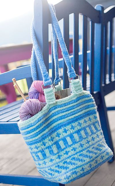 Fair-Isle felted bag shown hanging on bench free | knitted bags ...