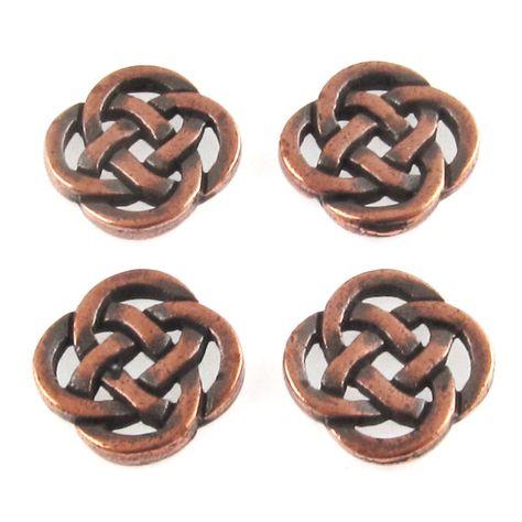 Copper Celtic Knot Connectors, TierraCast Pewter Love Knot Links 4/Pkg