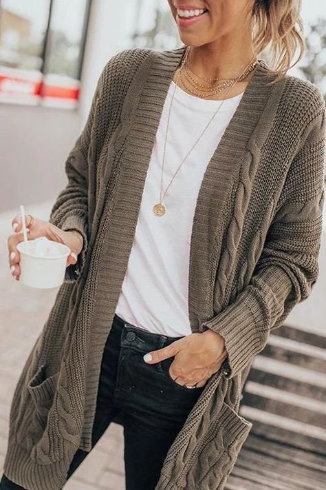 Long sleeve, cable knit detailed, loose fit, open front with pockets, fashion oversized sweater cardigan, soft and warm. Cozy up in a perfectly cable knit sweater cardigan this season! Details: Material:Knit SIZE(IN) Bust Sleeve Length Length S 37.8 16.9 29.5 46.1 M 39.4 17.3 29.9 46.5 L 40.9 17.7 30.3 46.9 XL 42.5
