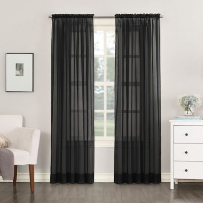 No 918 Emily Sheer Voile 108 Inch Rod Pocket Window Curtain Panel In Black Panel Curtains Window Curtains Black Curtains