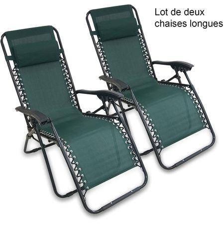 Transat En Textilene De Jardin Chaise Longue Inclinable 165 X 112 X 65 Cm Vert Avec Coussin Textilene Pack De 2 Ch Chaise Longue Transat Salon De Jardin