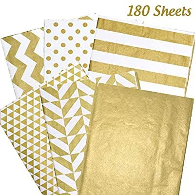 Amazon Com Whaline 180 Sheets Gold Tissue Paper Bulk Metallic Gift Wrapping Paper For Home Kitchen Birt In 2020 Gold Tissue Paper Gift Wrapping Paper Gift Wrapping