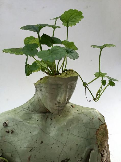 contemporary art Mixed media sculpture by Peruvian contemporary artist Emil Alzamora 3d Fantasy, Shades Of Green, Aesthetic Pictures, Picture Wall, Wall Collage, Ikebana, Art Inspo, Sculpture Art, Human Sculpture