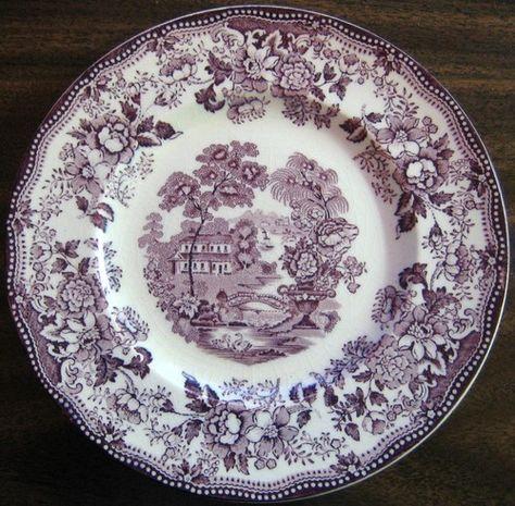 Purple Plum Toile Chinoiserie Swan Roses Vintage Plate L