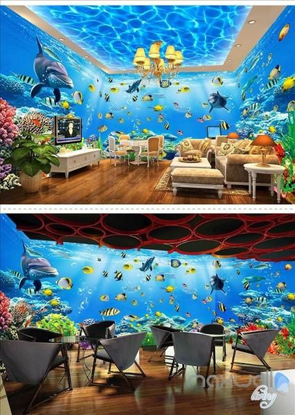 Underwater World Theme Space Entire Room Wallpaper Wall Mural Decal Idcqw 000042 In 2020 Wall Mural Decals Wall Wallpaper Room Wallpaper