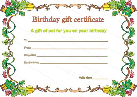 Pet Gift Certificate Template for Birthday ahpsmorena Pinterest - birthday gift coupon template
