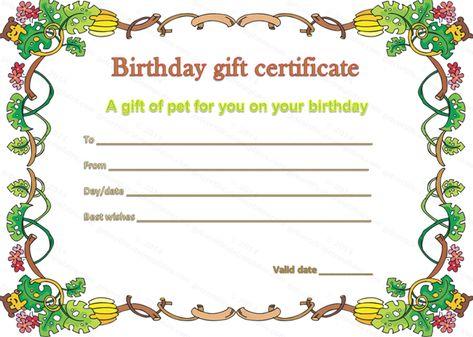 Pet Gift Certificate Template For Birthday  Ahpsmorena