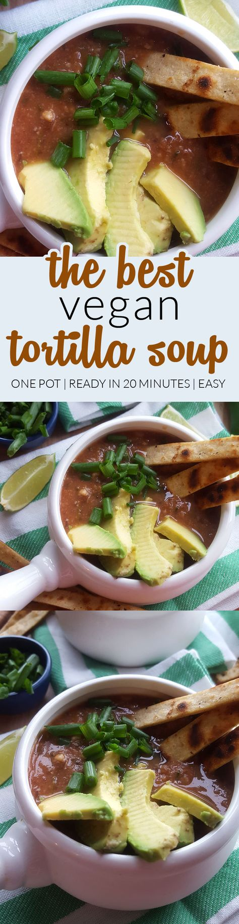 The Best Vegan Tortilla Soup - Really easy to make with minimal ingredients, ready in about 20 minutes and packed with flavour!