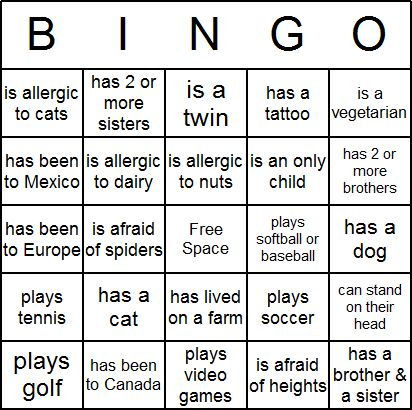Icebreaker Bingo Card -- free printable Can also change this to be