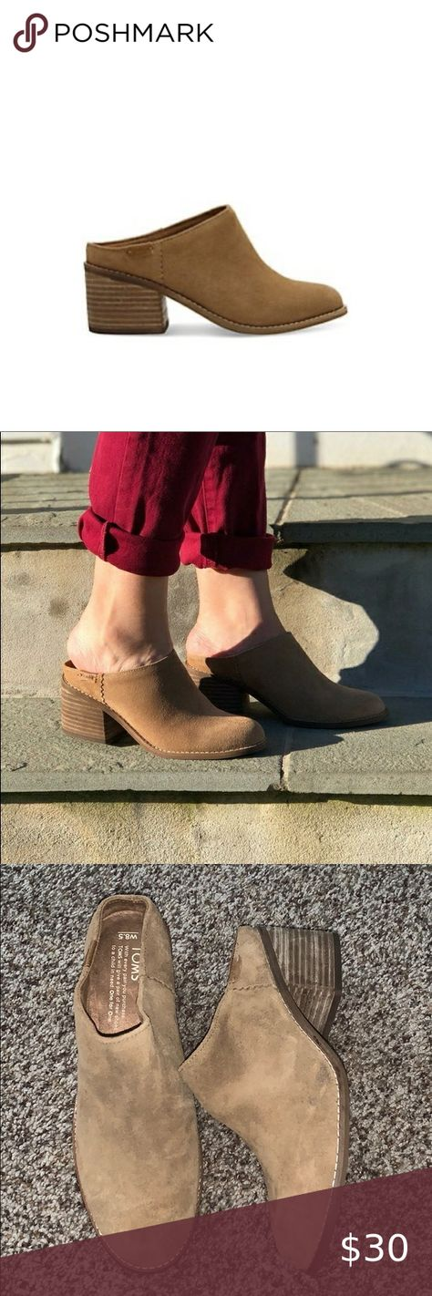 """Toms Shoes 80% OFF!> Toms Leila Mule in Brown Suede Toms Leila Mule in Brown Suede Preowned great condition. Please not small scuff mark minor signs of wear. Still in great condition hardly ever worn. A twist on our top seller the Leila. Part bootie part '90s fashion staple. Brown suede upper Stacked leather-wrapped block heel Funk-fighting microfiber sock liner Comfort footbed made for heels Heel height: approx. 2 ¼"""" Rubber outsole Toms Shoes #Toms #Tomsshoes #shoes #style #Accessorie..."""