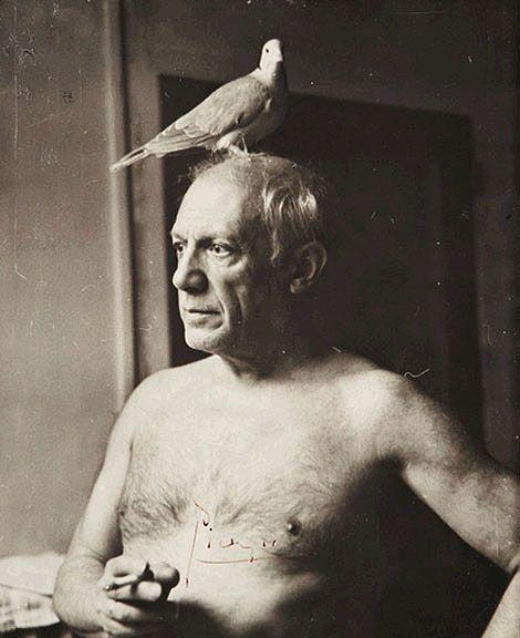 Picasso avec une colombe, Paris 1945 -by James Lord, me acuerda al buho con la paloma que hice en ceramica cuando era chiquita