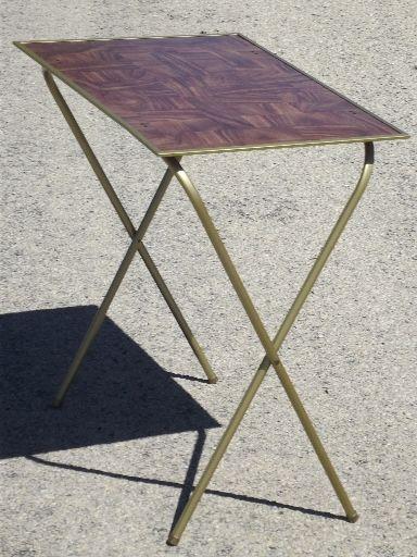 Vintage Tv Trays Table Set Mid Century Retro Folding Tray